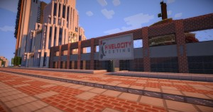 Scene from Minecraft with a sign featuring the Hivelocity logo