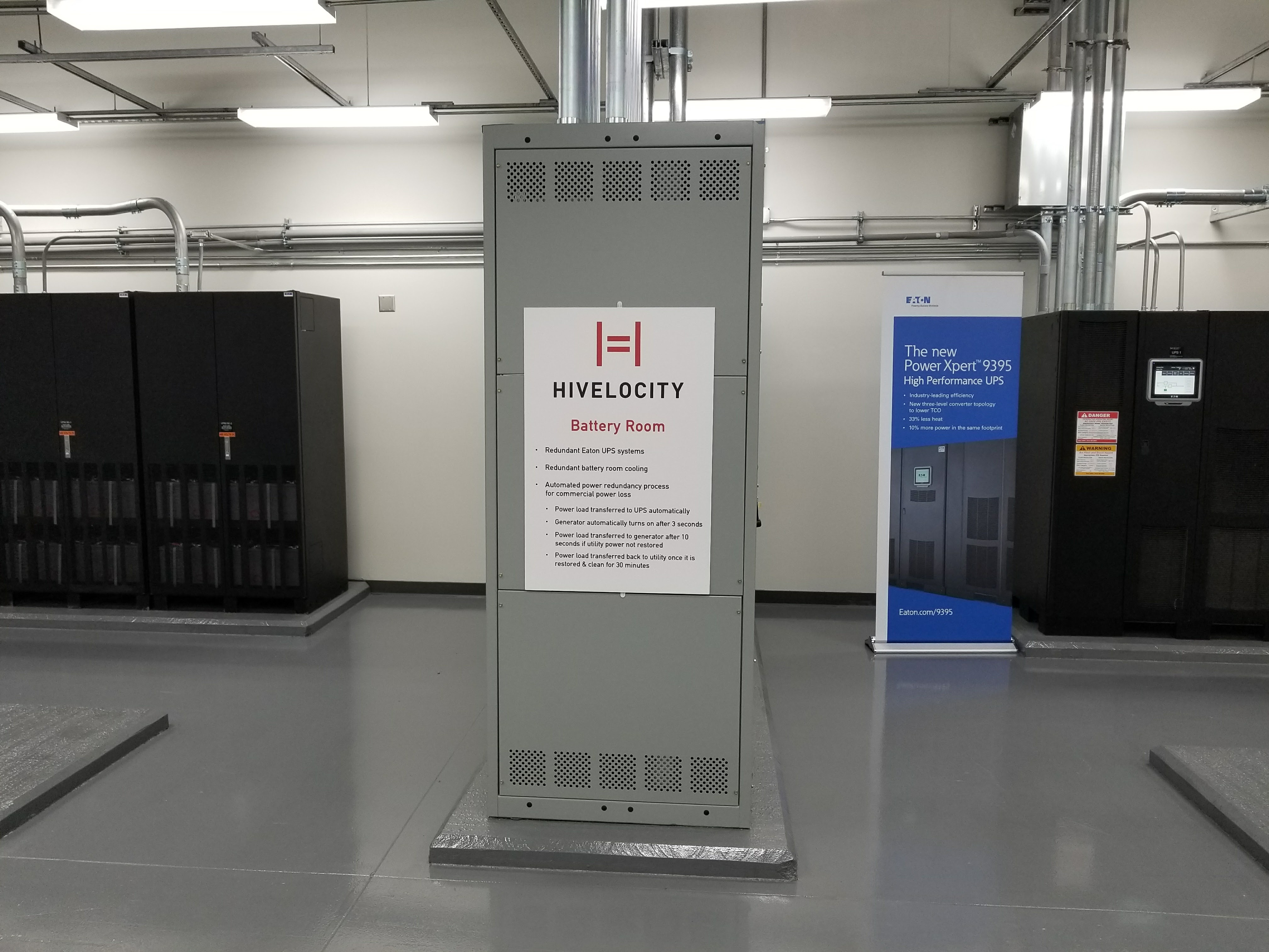 Dedicated Server Data Center Battery Room at Hivelocity. This is where the dedicated servers are powered.