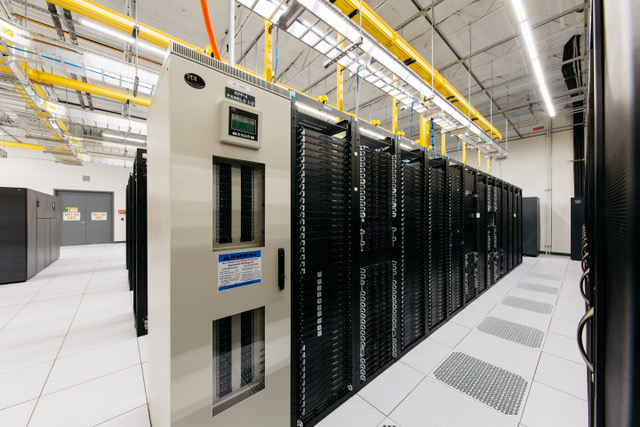 Rows of server cabinets inside a Hivelocity data center
