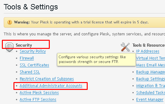 "Tools & Settings window highlighting Security and the ""Additional Administrator Accounts"" options"