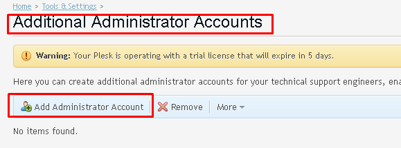 "Additional Administrator Accounts page highlighting the ""Add administrator account"" button"