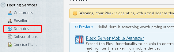 "Plesk dashboard highlighting the ""Domains"" option under the ""Hosting Services"" section."