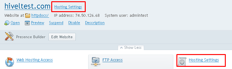 "Plesk screen highlighting the ""Hosting Settings"" option next to the selected domain."
