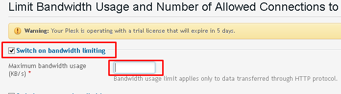 The Limit Bandwidth Usage screen highlighting the form field for setting the maximum bandwidth limit.
