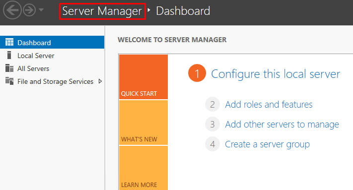 Screenshot showing the Server Manager dashboard with the option to configure a local server