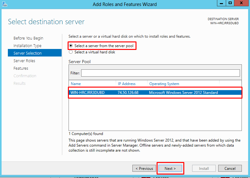 "Select destination server window highlighting the option to ""Select a server from the server pool"""