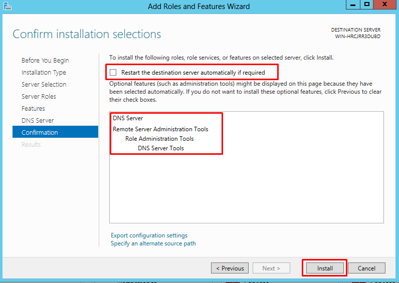 "Confirm installation selections screen highlighting the option to ""Restart the destination server automatically if required"""