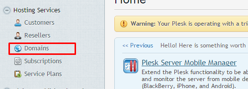 "Window showing the Plesk main page and highlighting the ""Domains"" option under the ""Hosting Services"" tab."