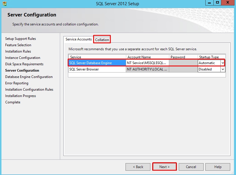 "SQL Server 2012 Server Configuration page with ""Collation"" tab highlighted"