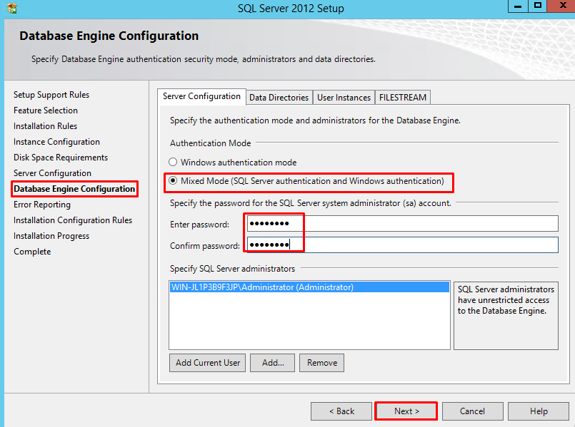 SQL Server 2012 Database Engine Configuration page
