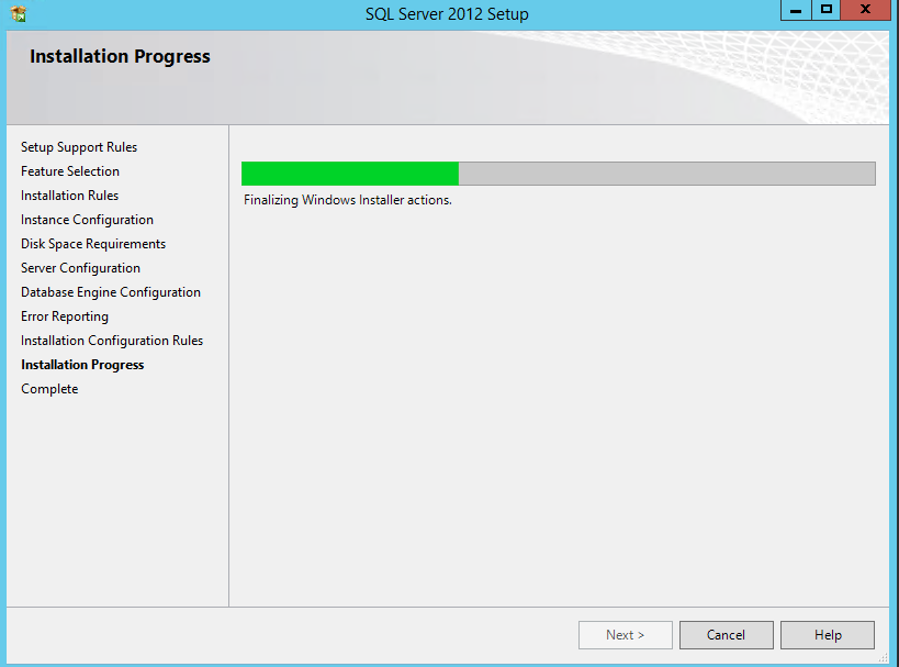 SQL Server 2012 Express installation progress bar