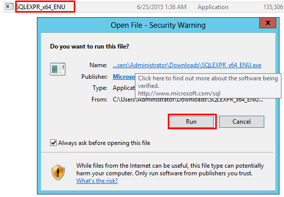 "Screenshot of SQL Server 2012 Express Installation window with ""Run"" button selected"