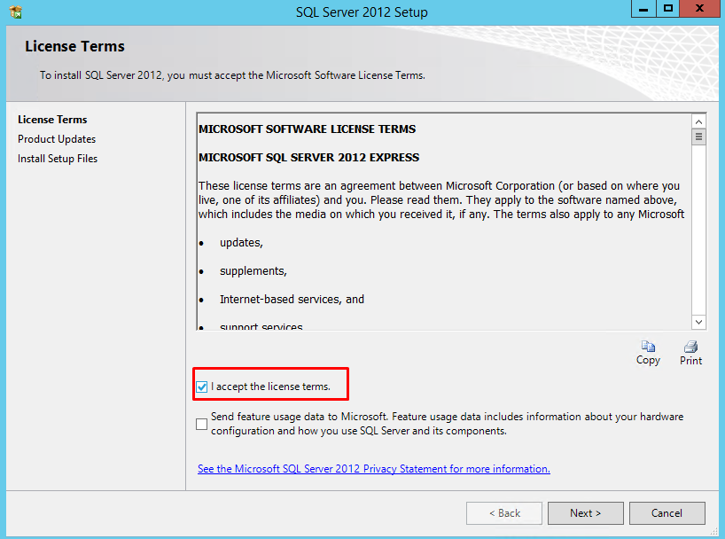 How to install SQL Server 2012 Express on Windows server