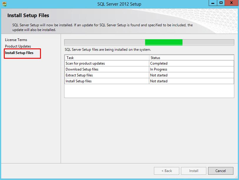 SQL Server 2012 Express setup page