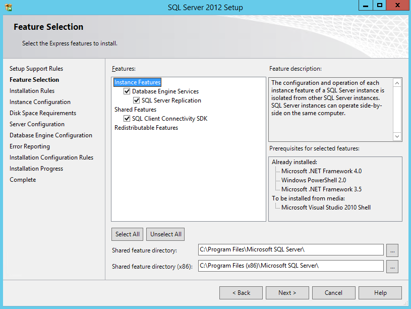 SQL Server 2012 Express setup page showing feature options and descriptions