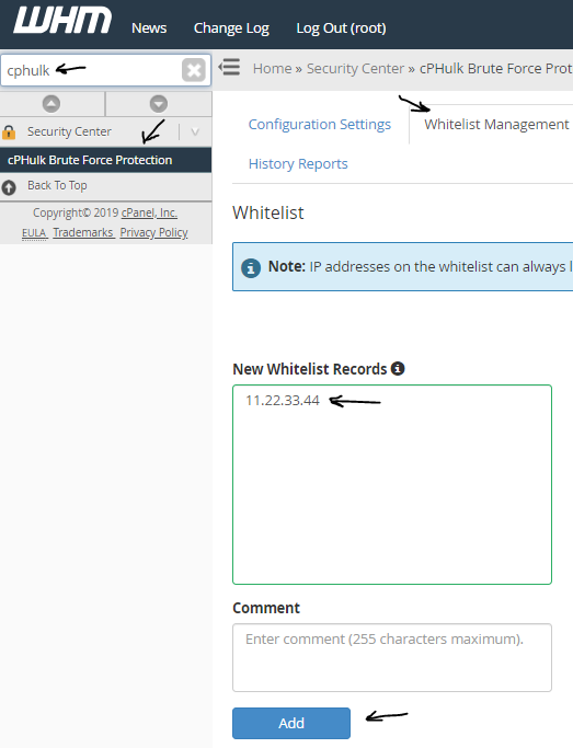 "WHM panel showing search term ""cphulk"", cPHulk Brute Force Protection, Whitelist Management tab, and IP address entered under ""New Whitelist Records"""