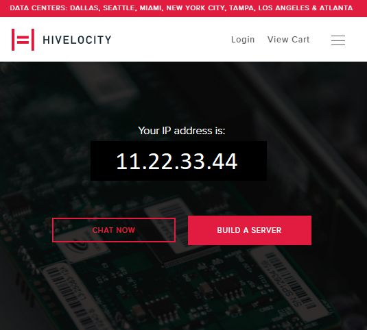 Sample image of the Hivelocity IP address checking tool