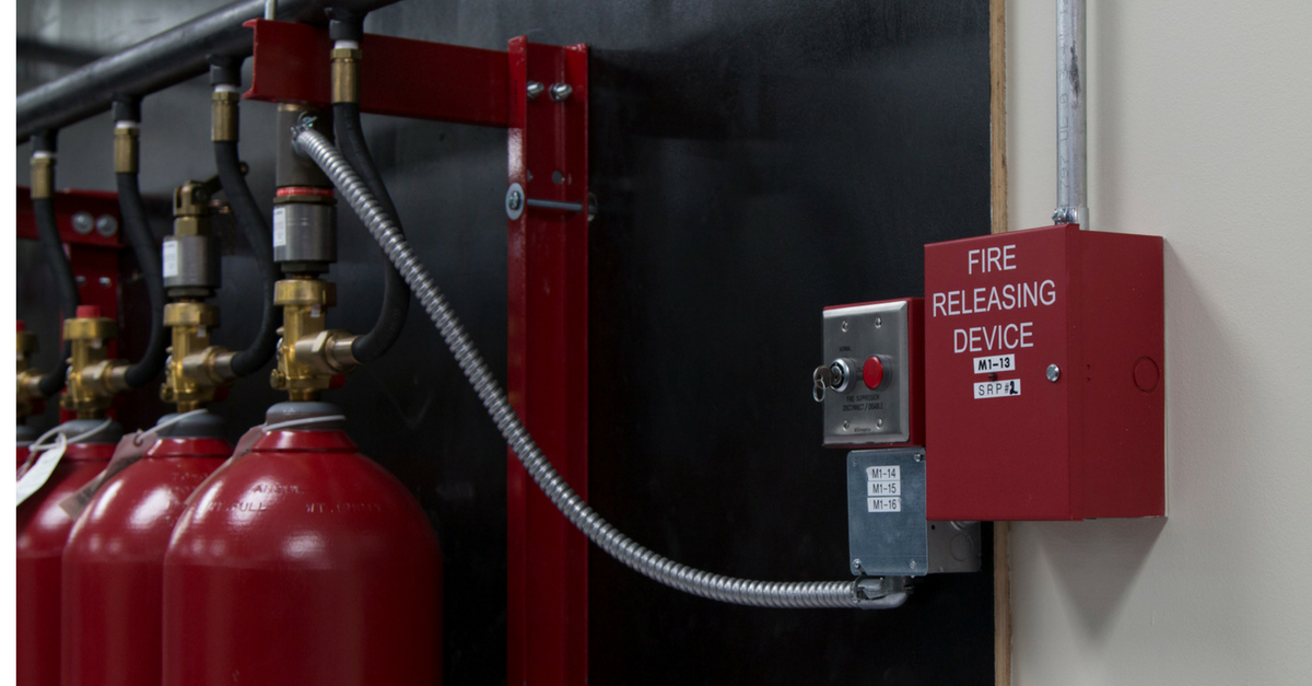 Image of a fire suppression system installed in a wall