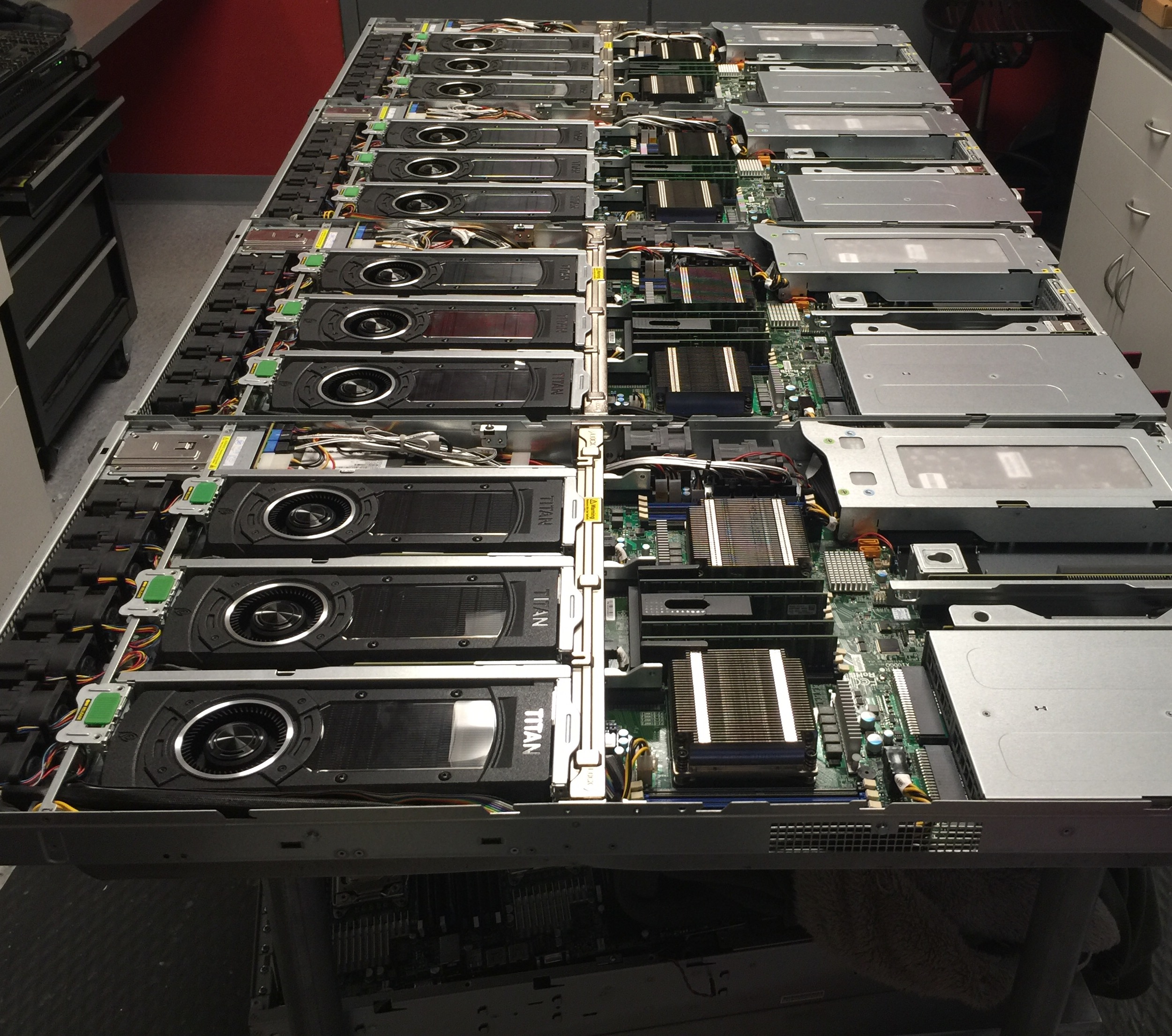 Rows of opened servers receiving maintenance