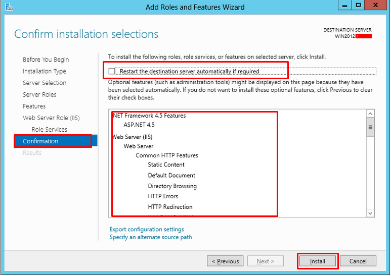 Confirmation screen highlighting the features that will be installed with Web Server (IIS)