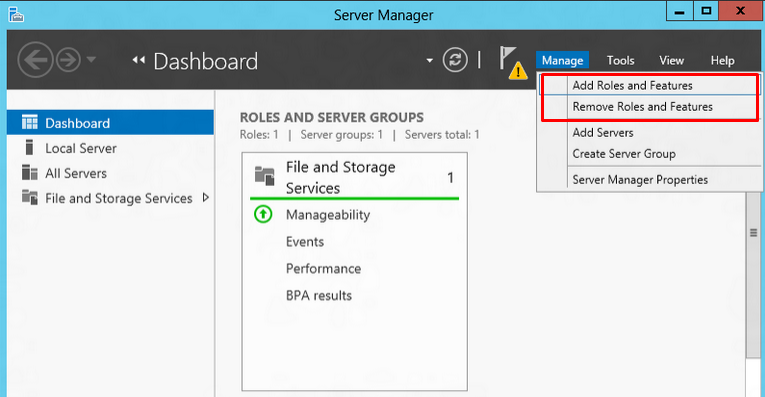 """Server Manager screen highlighting the """"Add Roles and Features"""" option under the Manage tab"""