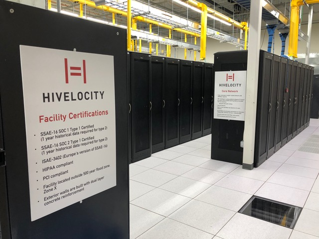 Hivelocity server room with posted facility certifications