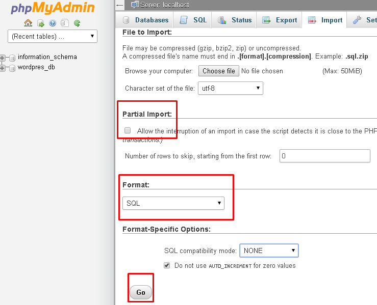 Screenshot of the phpMyAdmin dashboard, highlighting the Partial Import and Format options
