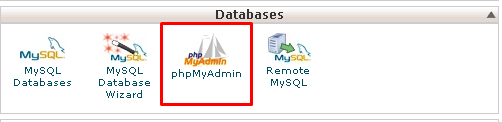 Screenshot of cPanel dashboard highlighting the phpMyAdmin application under the Databases options