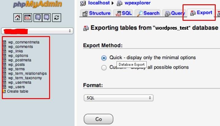 Screenshot of the phpMyAdmin dashboard highlighting the Export option