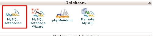 Screenshot of the cPanel dashboard highlighting the MySQL Databases option