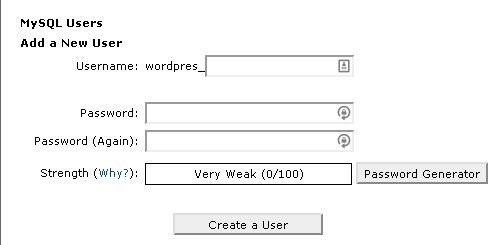 Screenshot of the MySQL dashboard showing the Add a New User section
