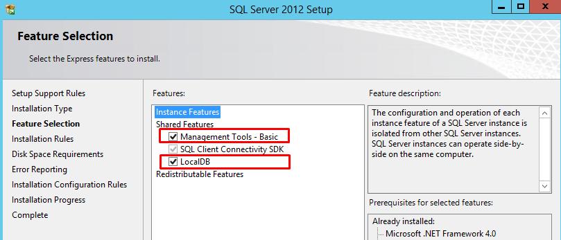 SQL Server Management Studio Feature Selection