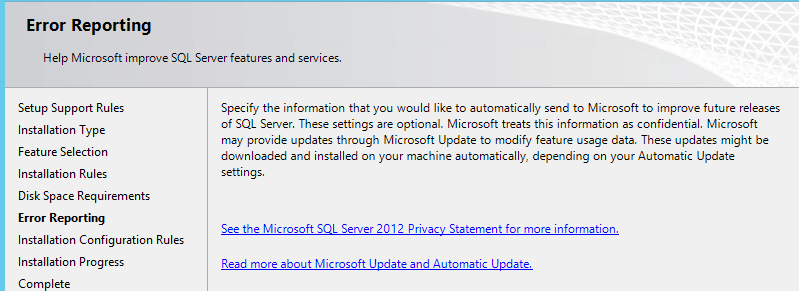 Error Reporting on SQL Server Management Studio