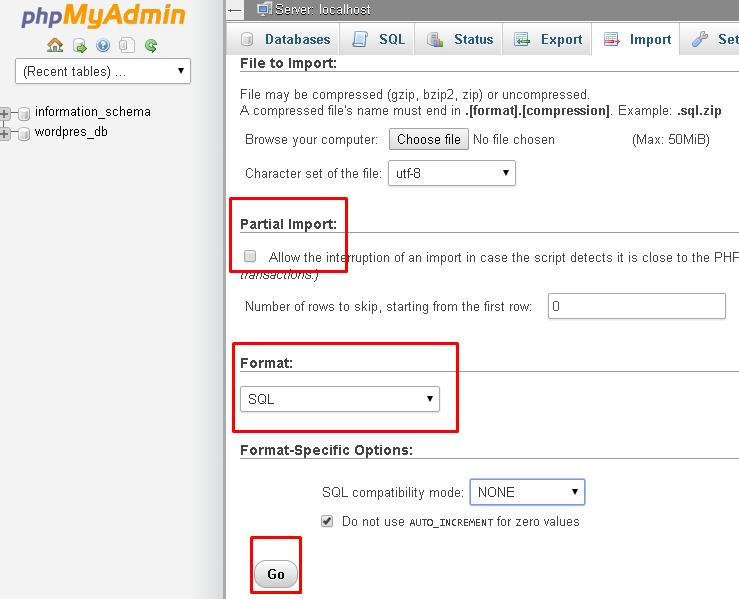 How to import/export mysql databases using phpmyadmin