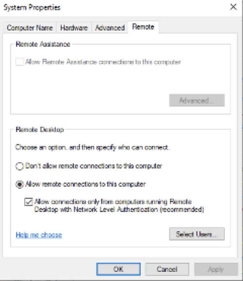 System Properties window highlighting the option to allow remote connections