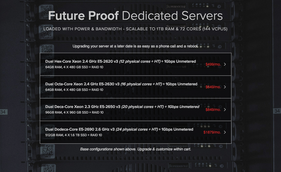 Hivelocity's 4 base configurations of Future Proof Dedicated Servers