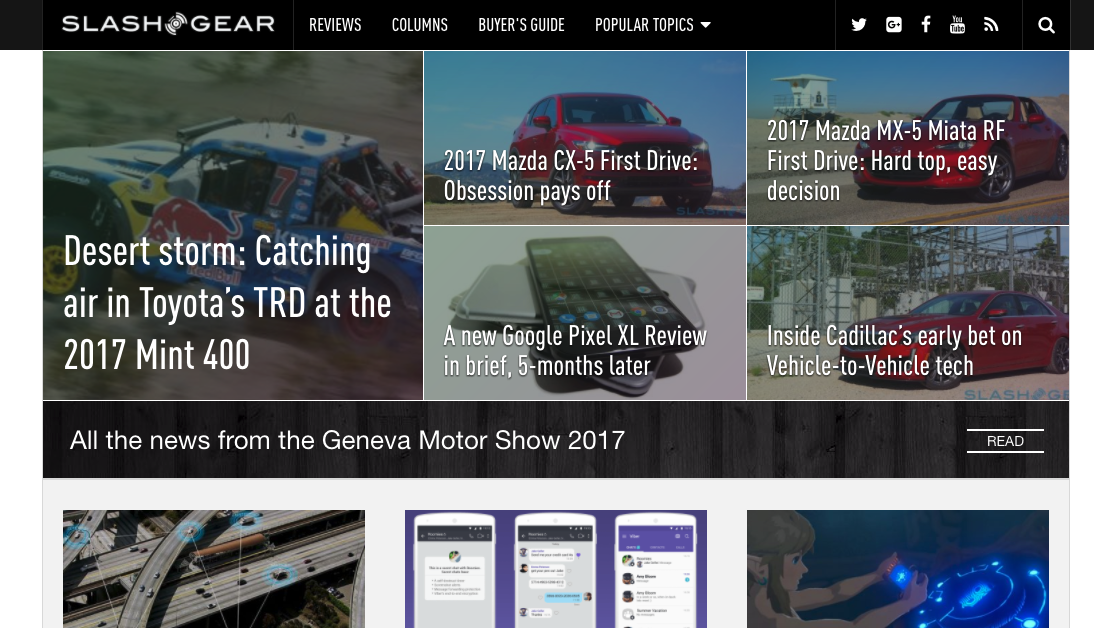Screenshot of the SlashGear homepage