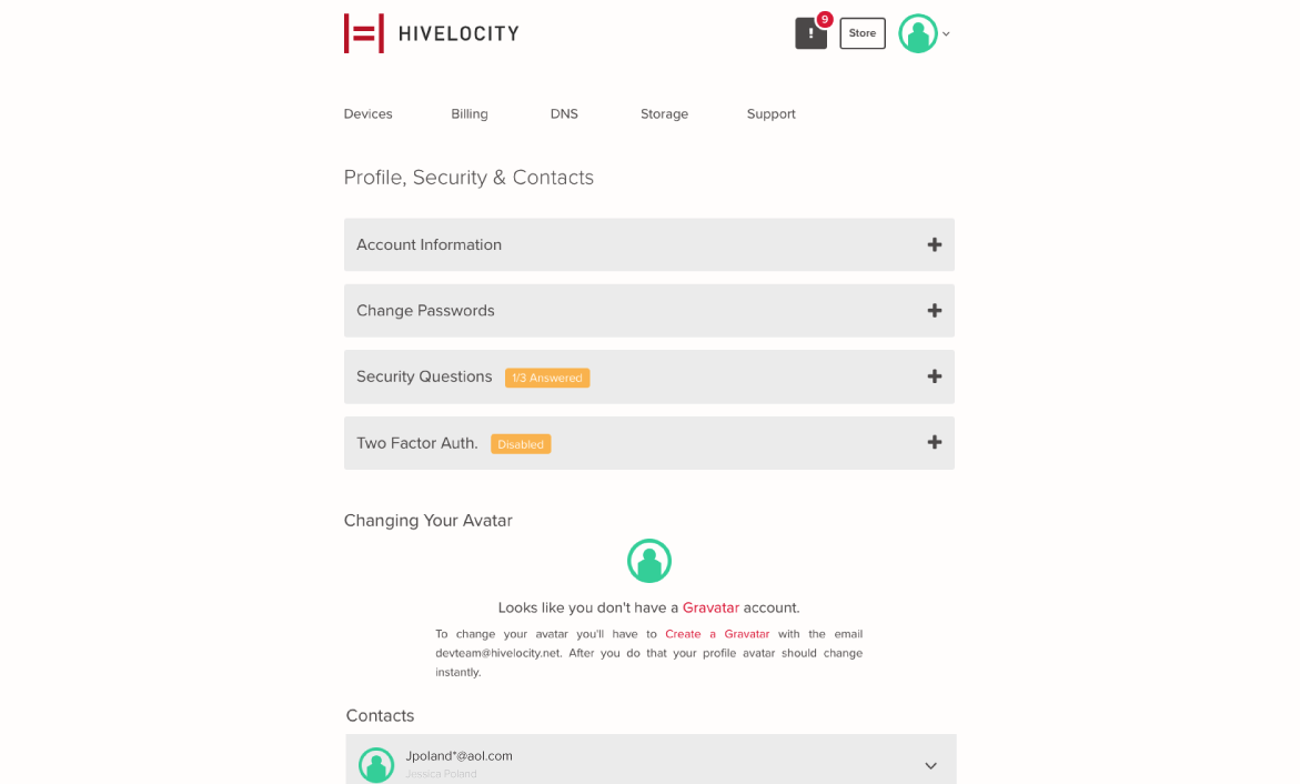 Screenshot of the myVelocity profile page