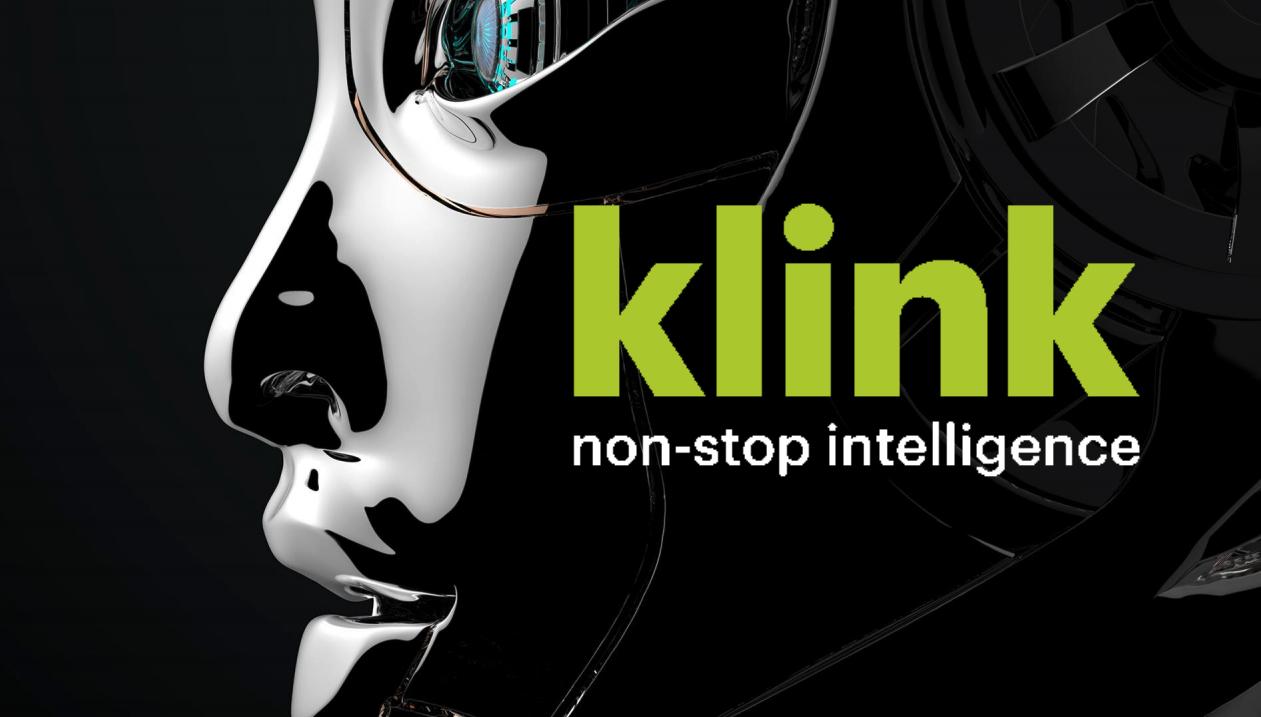 Robotic face next to the Klink AI logo