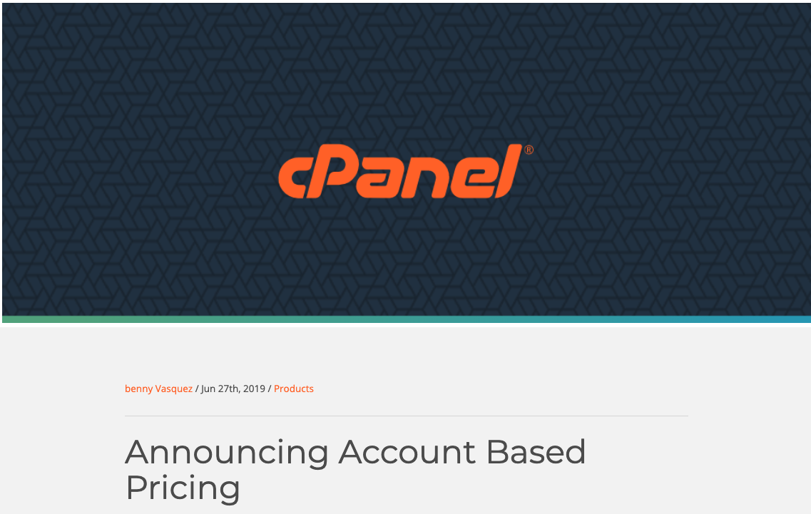 """Screenshot showing cPanel logo and the text """"announcing account based pricing"""""""