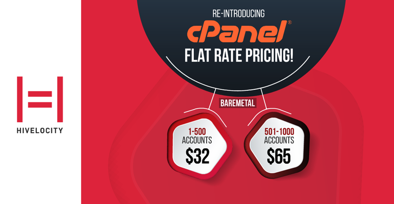 Screenshot showing the Hivelocity cPanel Flat Rate Pricing page