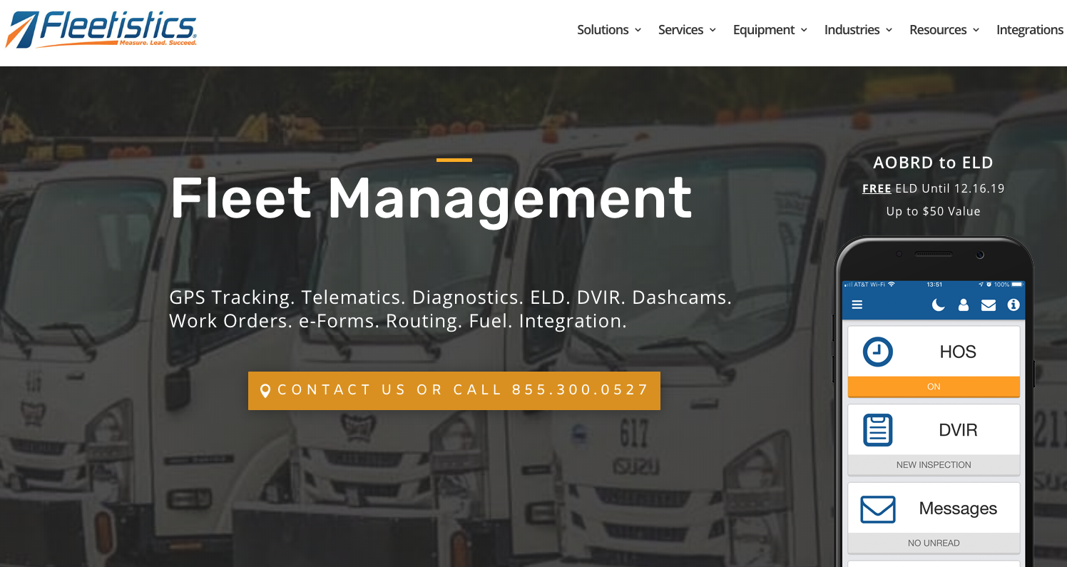 Screenshot of the Fleetistics website, showing their app