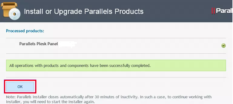 "Completion page with the message ""All operations with products and components have been successfully completed."""