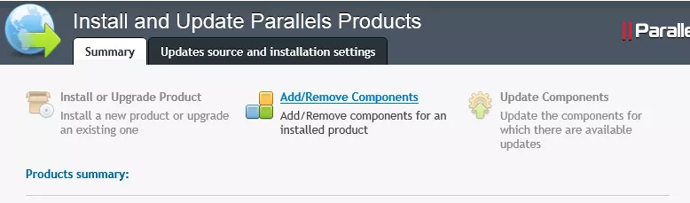 """Summary screen showing the option to """"Add/Remove Components"""""""