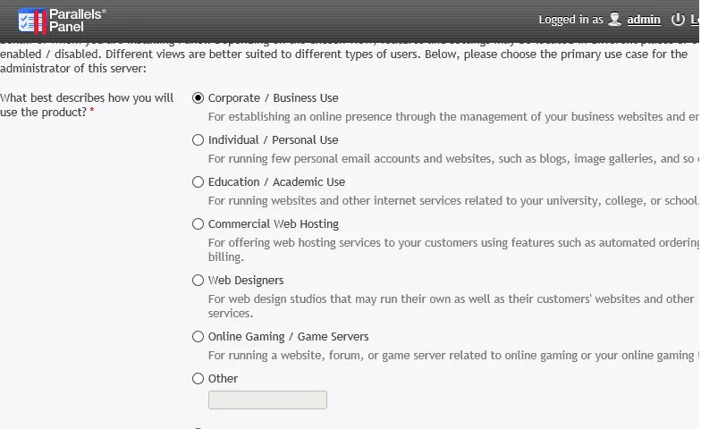 "Survey screen showing options for ""business use"", ""personal use"", ""academic use"" and more."