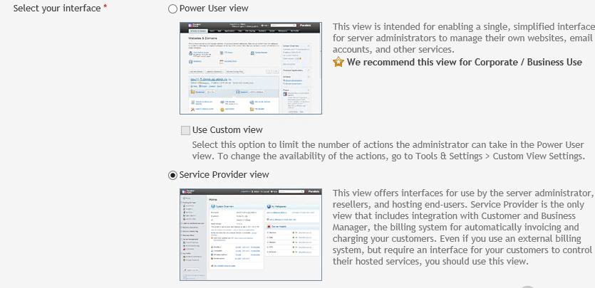 "Interface selection screen showing options for ""Power User view"" and ""Service Provider view"""