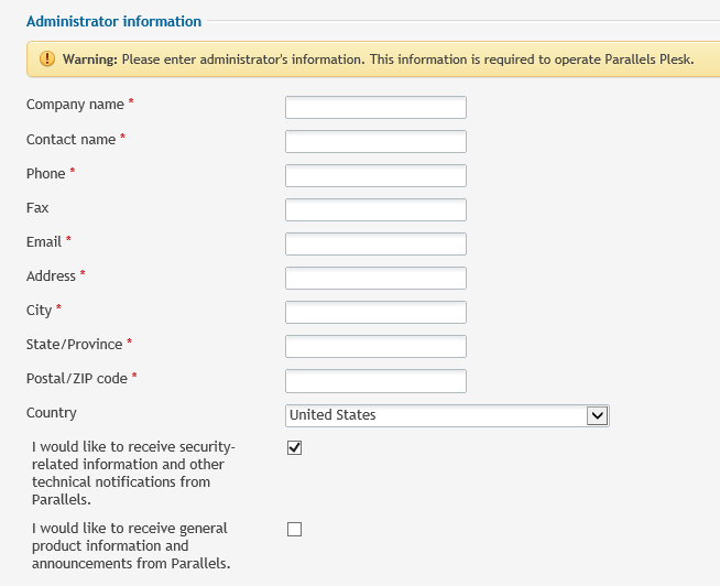 Administrator information screen with form fields for information including name, phone number, and more