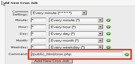 "Add New Cron Job window highlighting the ""Command"" form field"
