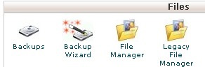 Files section of cPanel showing the Backup tool