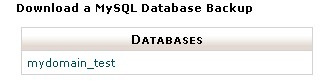 Download a MySQL Database Backup window showing databases available for backup